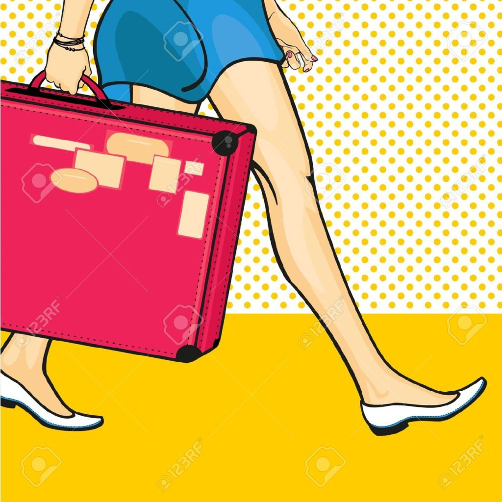 Travelling-girl-with-a-suitcase-Stock-Vector-art-pop