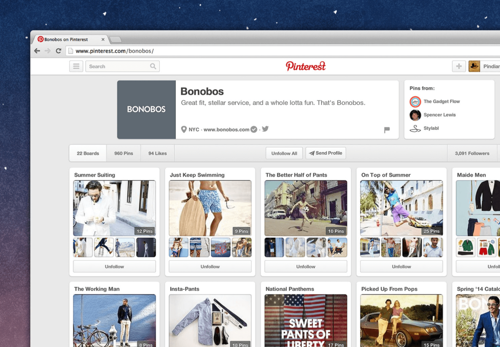 An Eye-catching profile Pinterest