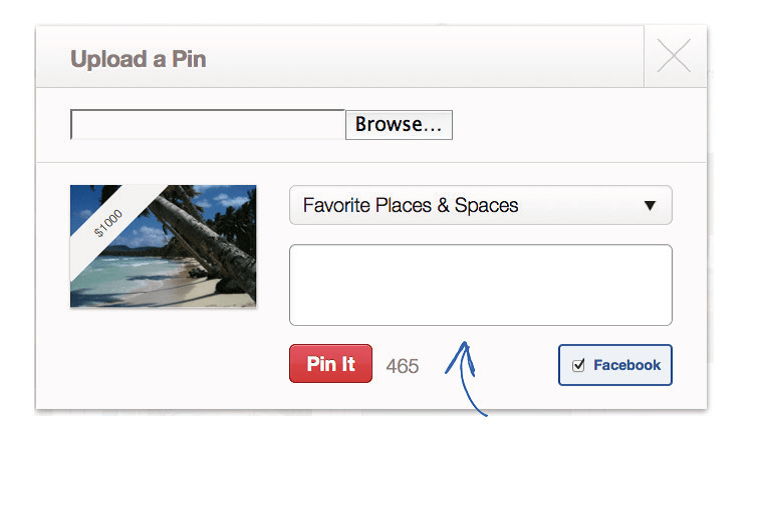 Upload a pin pinterest