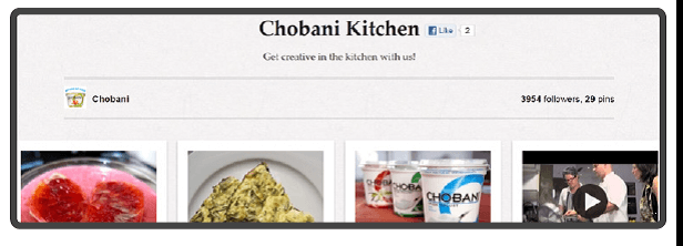 Chobani Pinterest account