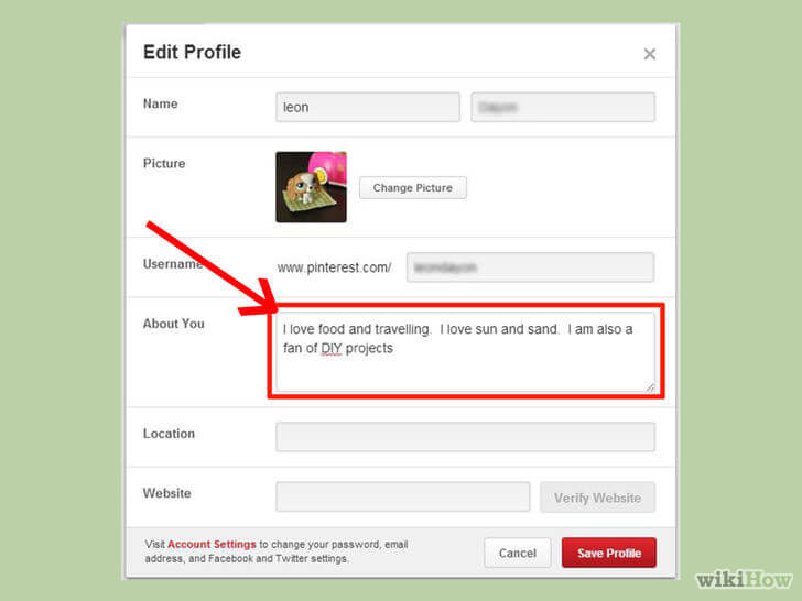 Edit Profile Pinterest