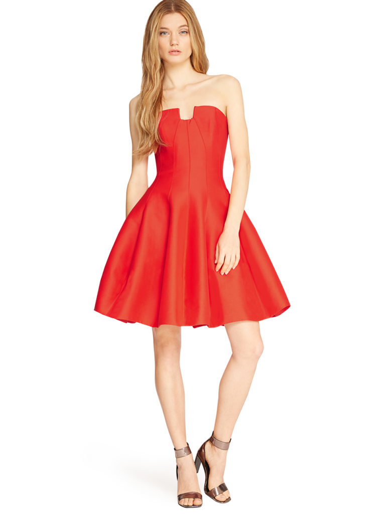 halston-lipstick-strapless-geo-notch-silk-faille-dress