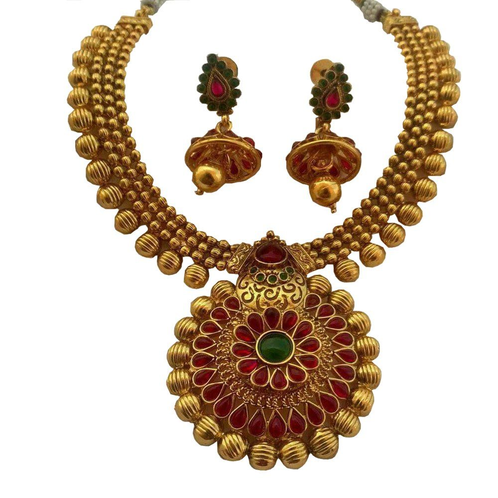 Gold necklace design-Beautiful-Traditional-Necklace-in-Kemp-stones ...