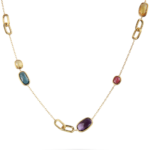 Gold necklace design-Gemstone Necklace with gold chain