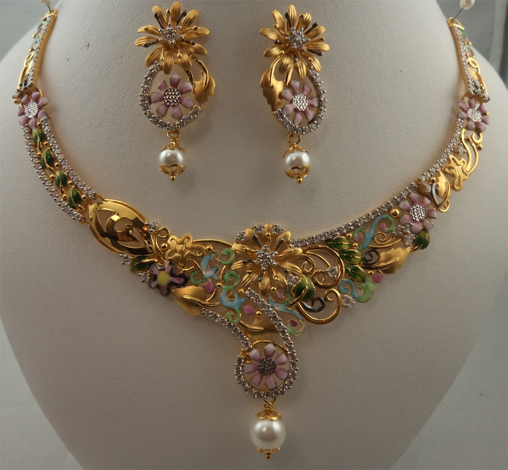 finish gold gemstones designs grams studded carat gms necklace set total checkout bridal jewellery heavy is earrings paired weight antique the with