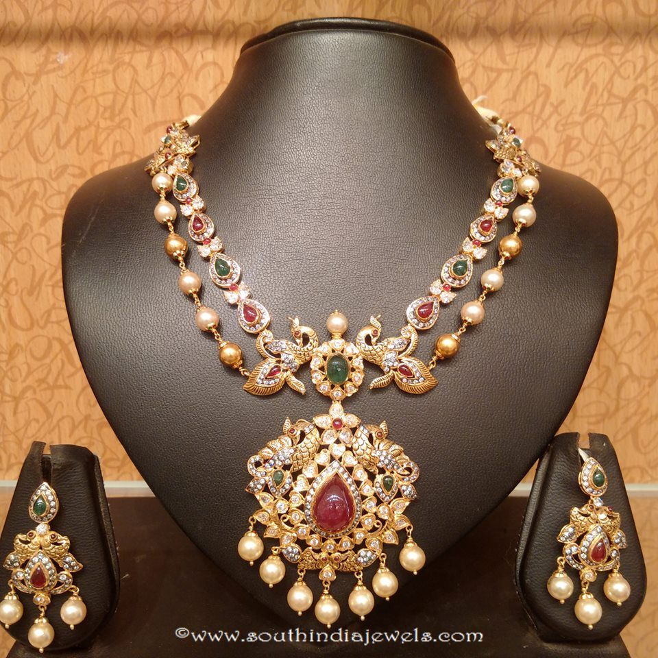 Gold necklace design-Traditional-gold-double-layer-necklace-set ...