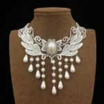 Gold necklace design-White pearl necklace