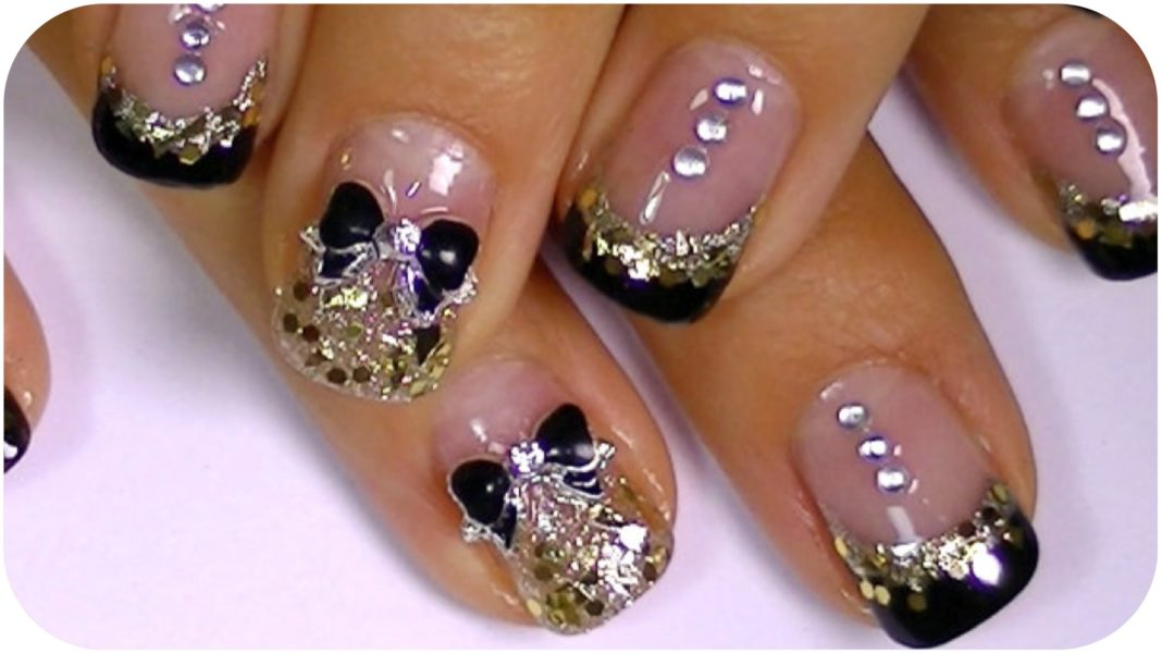 Astonishing Nail Art Design With Stones And Glitters With Different