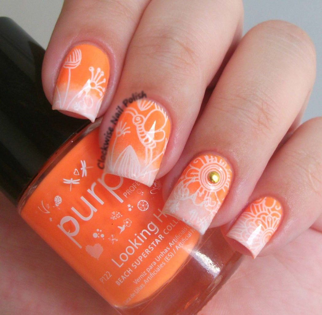Orange Nail Art Designs With Black White Blue Pink Yellow Images