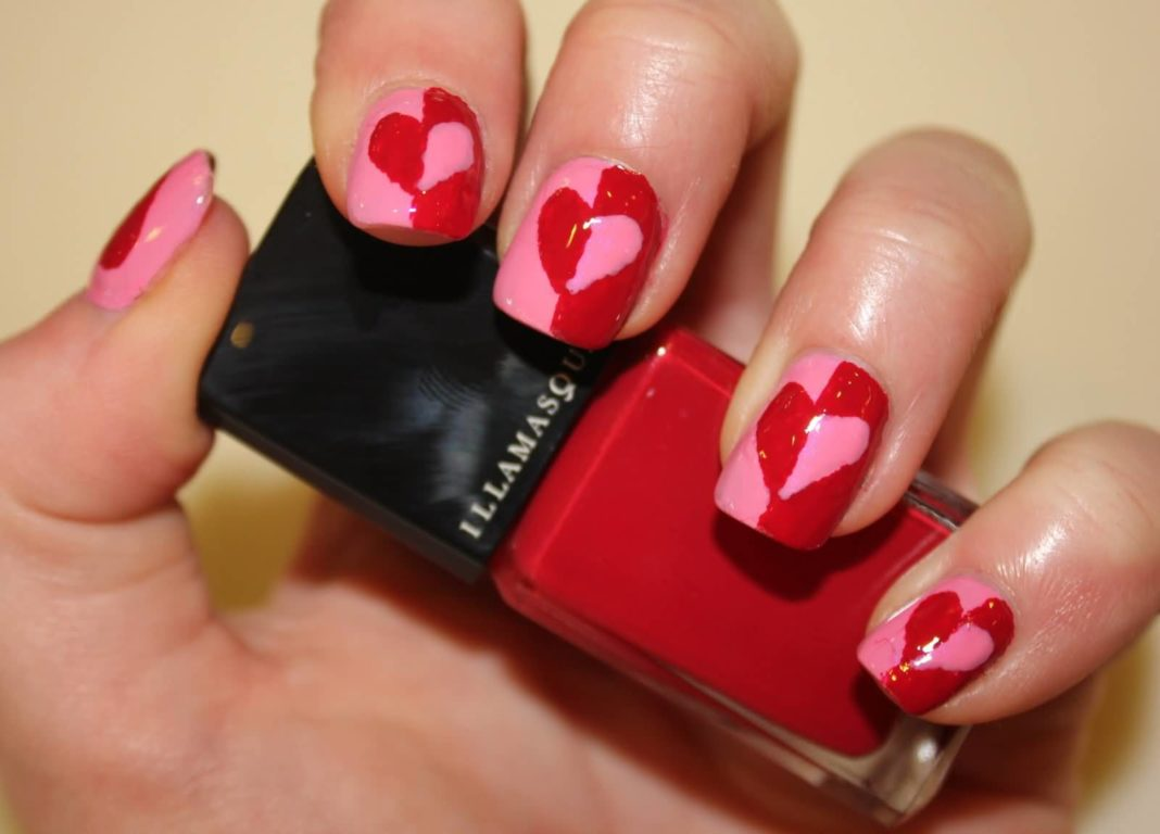 Pink And Red Heart Nail Art Design Idea Anextweb