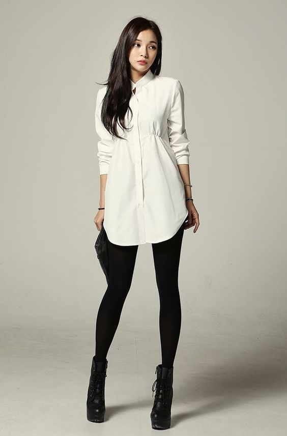 b14966b8763 Take last minute decision with white colored collar neck tunic top.  Beautifully Sexy Tunic Tops To Team Up with Leggings for Women