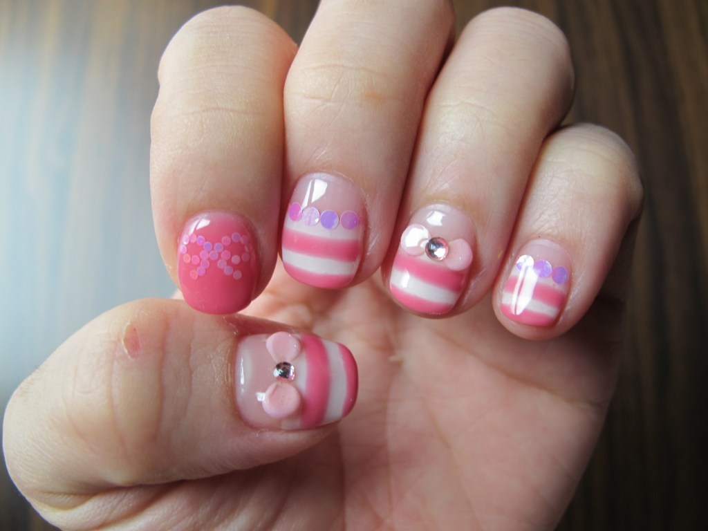 General Cute And Sweet Pink White Colored Calgel Nail Art Design