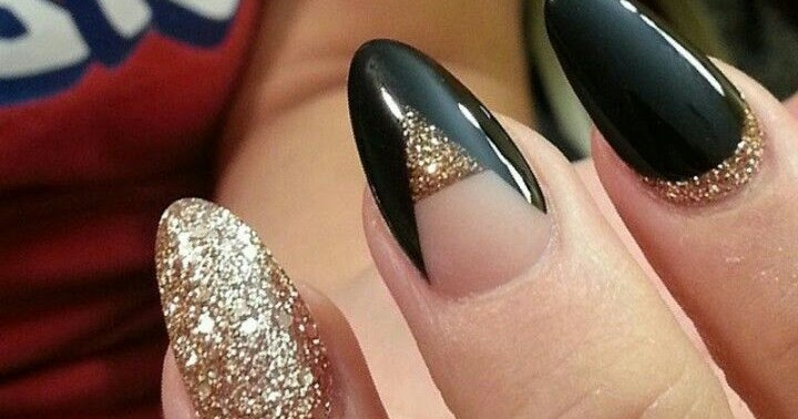 Nude Black Gold Glitter Almond Stiletto Acrylic Nails Discover And