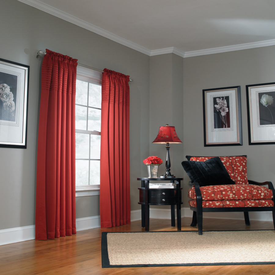 Red And Grey Living Room Curtains