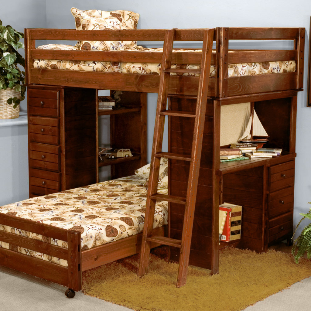Picture of: Twin Bunk Bed Design With Two Beds Desk And Drawers Anextweb